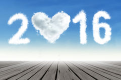 Cloud shaped numbers 2016 on the sky Stock Images