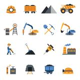 Coal Industry Icons Stock Images
