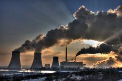 Coal powerplant view - chimneys and fumes Stock Photos