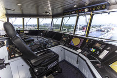 Cockpit of a huge container ship Stock Images