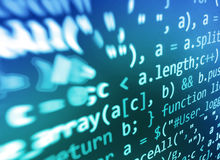 Coding programming source code screen. Colorful abstract data display. Software developer web program script. Royalty Free Stock Images