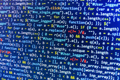 Coding programming source code screen. Colorful abstract data display. Software developer web program script. Royalty Free Stock Photos