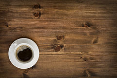Coffee cup top view on wooden table background Stock Photos