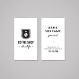 Coffee shop business card design concept. Coffee shop logo with coffee bean, crown and label. Vintage, hipster and retro style. Stock Image