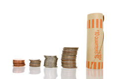Coin Money in Stacks with Wrapper Royalty Free Stock Photo