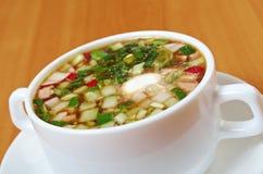 Cold soup, okroshka Royalty Free Stock Image