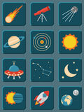 Collection of colorful flat astronomy and space Royalty Free Stock Photography
