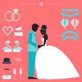 Collection de mariage avec la jeune mariée, la silhouette de marié et décembre romantique Photographie stock