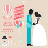 Collection de mariage avec la jeune mariée, la silhouette de marié et décembre romantique Photographie stock libre de droits