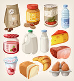Collection of food that we buy or eat every day. Royalty Free Stock Images