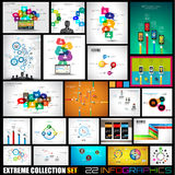 Collection of 22 Infographics for social media and clouds. Royalty Free Stock Photo