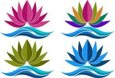 Collection lotus logos Royalty Free Stock Photos