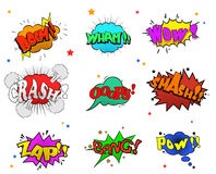 Collection of multicolored comic sound Effects for you design Royalty Free Stock Image