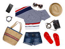 A collection of tourist clothes and accessories isolated on white Stock Photo