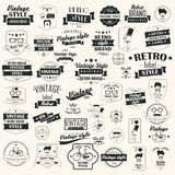 Collection of vintage retro labels, badges, stamps, ribbons Stock Image
