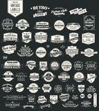 Collection of vintage retro labels, badges, stamps, ribbons Stock Photos