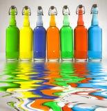 Color Filled Bottles Royalty Free Stock Images