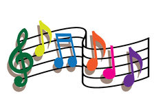 Colored music notes Royalty Free Stock Images