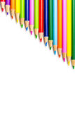 Colored Pencils in Rows Royalty Free Stock Photography