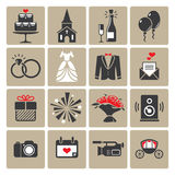 Colored square wedding icons Stock Photos
