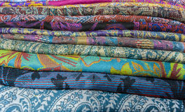 Colored textiles Stock Photography