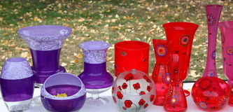 Colored vases Stock Photos