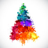 Colorful abstract paint spash Christmas tree Stock Photo