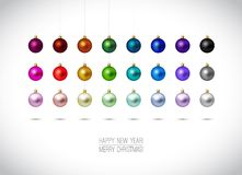 Colorful Christmas ornaments isolated on white Royalty Free Stock Photography