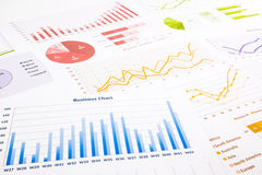 Colorful graphs, charts, marketing research and  business annual Stock Image