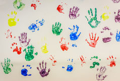 Colorful handprints Royalty Free Stock Images