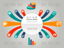 Colorful Infographic diagram social media icons il Stock Photos