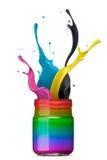 Colorful ink splashing Stock Image