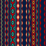 Colorful red orange blue aztec striped ornaments geometric ethnic seamless pattern Royalty Free Stock Photos