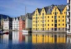 Colorful Reflections of Buildings, Alesund, Norway Stock Image