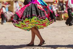 Colorful skirt during a festival on Taguile island, Peru Royalty Free Stock Image