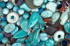 Colorful Turquoise Semi Precious Gemstones Jewelry Stock Image