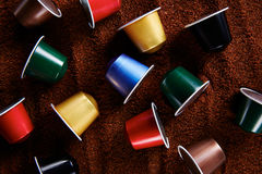 Colorful variety of coffee capsules Royalty Free Stock Photos
