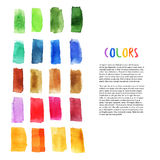 Colorful watercolor design elements with brush stroke elements. Palette art. Art studio decoration. Vector Stock Photo