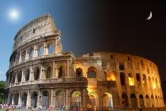 Colosseum, dag en nacht Stock Afbeelding