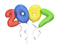 Colour air balloons 2007 on white background Royalty Free Stock Photos