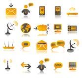 Coloured communication web icons set Stock Image