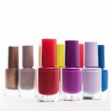 Colourful bottles of nail varnish Stock Image