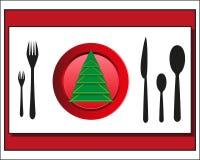 Coltelleria della regolazione della tavola di Natale Immagini Stock Libere da Diritti