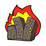 Comic cartoon burning buildings Stock Photography