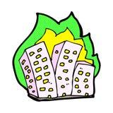 Comic cartoon burning buildings Royalty Free Stock Photography