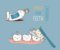 Comics about dental diagnostics and treatment. Royalty Free Stock Images
