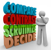 Compare Contrast Scrutinize Decide Thinking Person Choose Select Stock Image