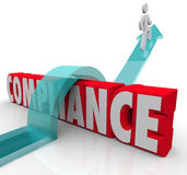 Compliance Person Jumping Rules Regulations Stock Photography