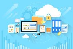 Computer device data cloud storage security flat Royalty Free Stock Photos