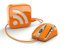 Computer mouse and rss sign. Three-dimensional concept. Stock Images